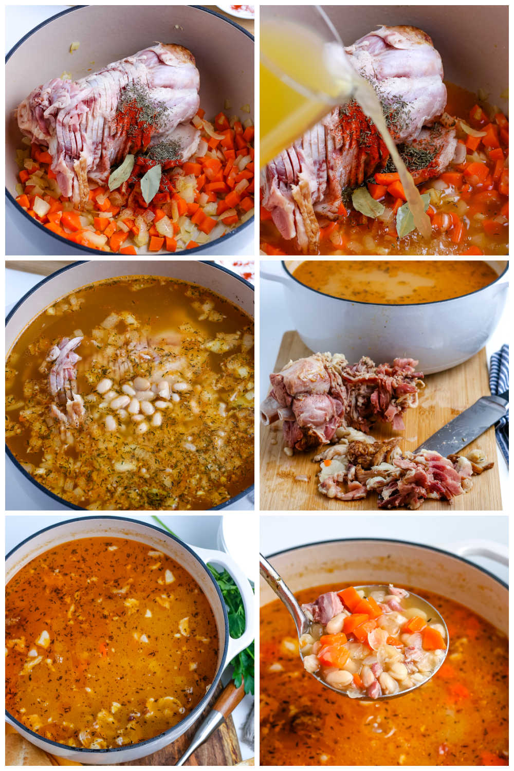 A picture collage of how tomato Ham and Bean Soup recipe.