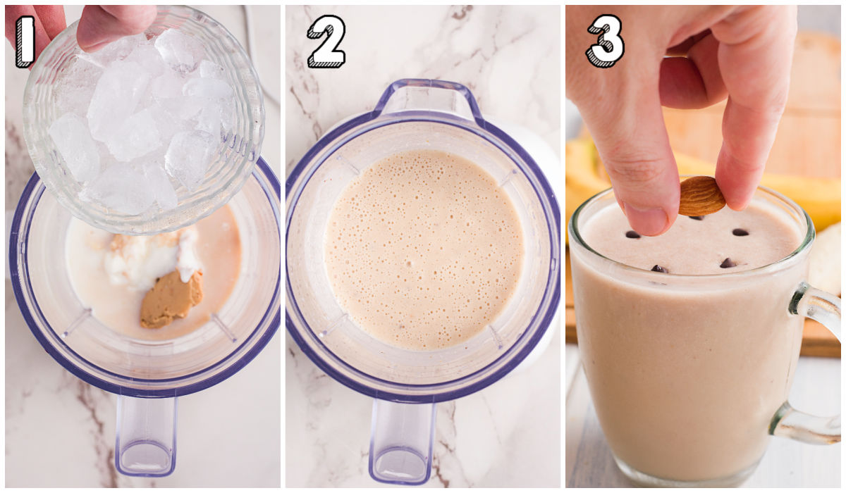 A picture collage of how to make a healthy peanut butter smoothie.
