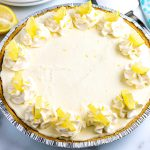An overhead picture of this finished Lemon Icebox Pie.