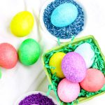 A close up picture of the finished rice-dyed Easter eggs.