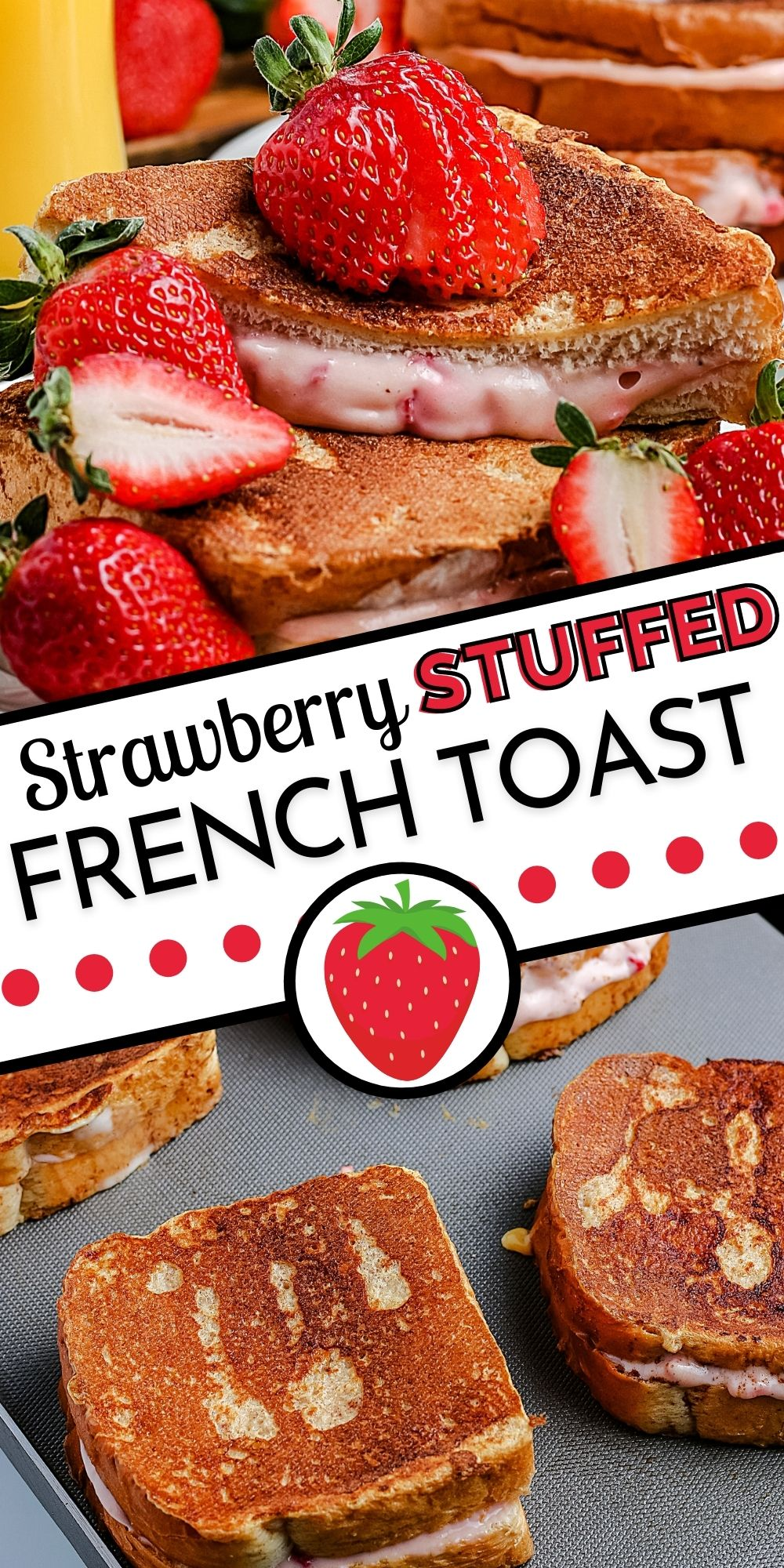 This Strawberry Stuffed French Toast recipe is filled with a strawberry cream cheese mixture and cooked to golden-brown perfection. via @easybudgetrecipes