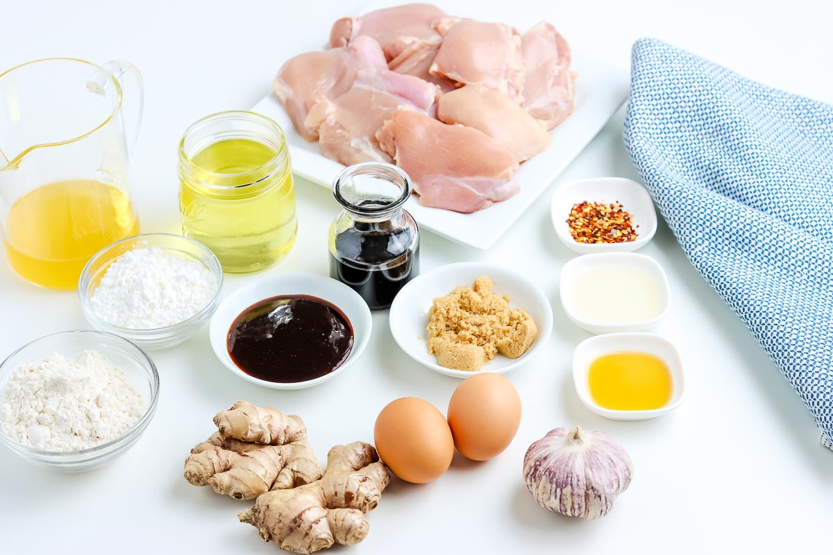 All of the General Tso Chicken recipe ingredients.
