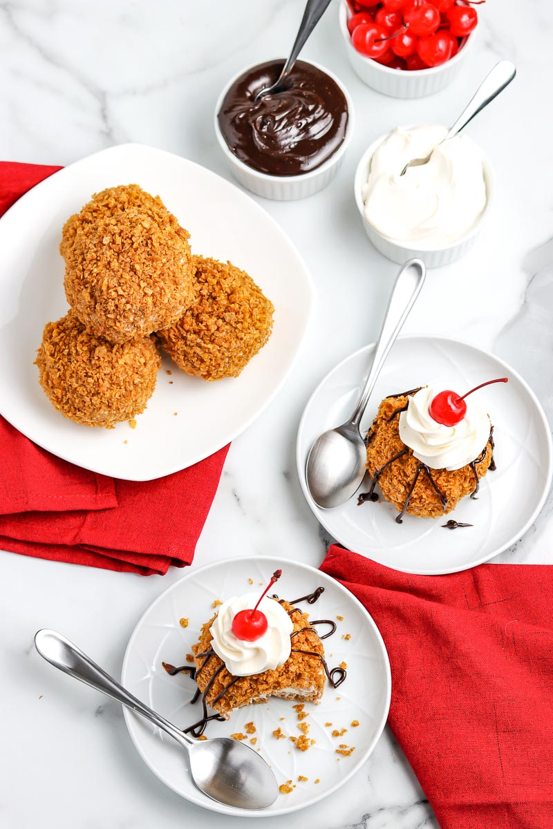 An overhead picture of the finished Fried Ice Cream recipe