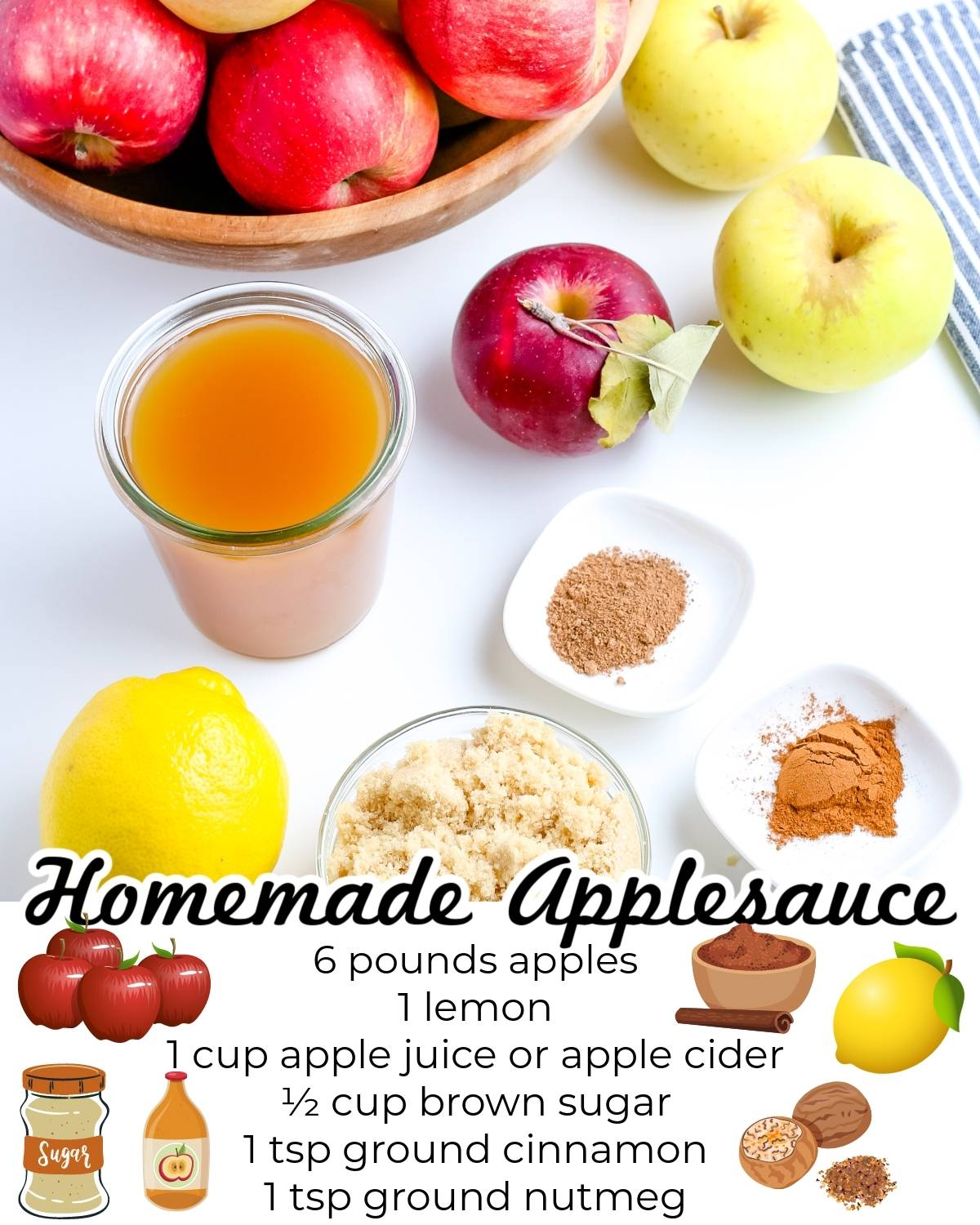 All of the ingredients needed to make this homemade applesauce recipe.