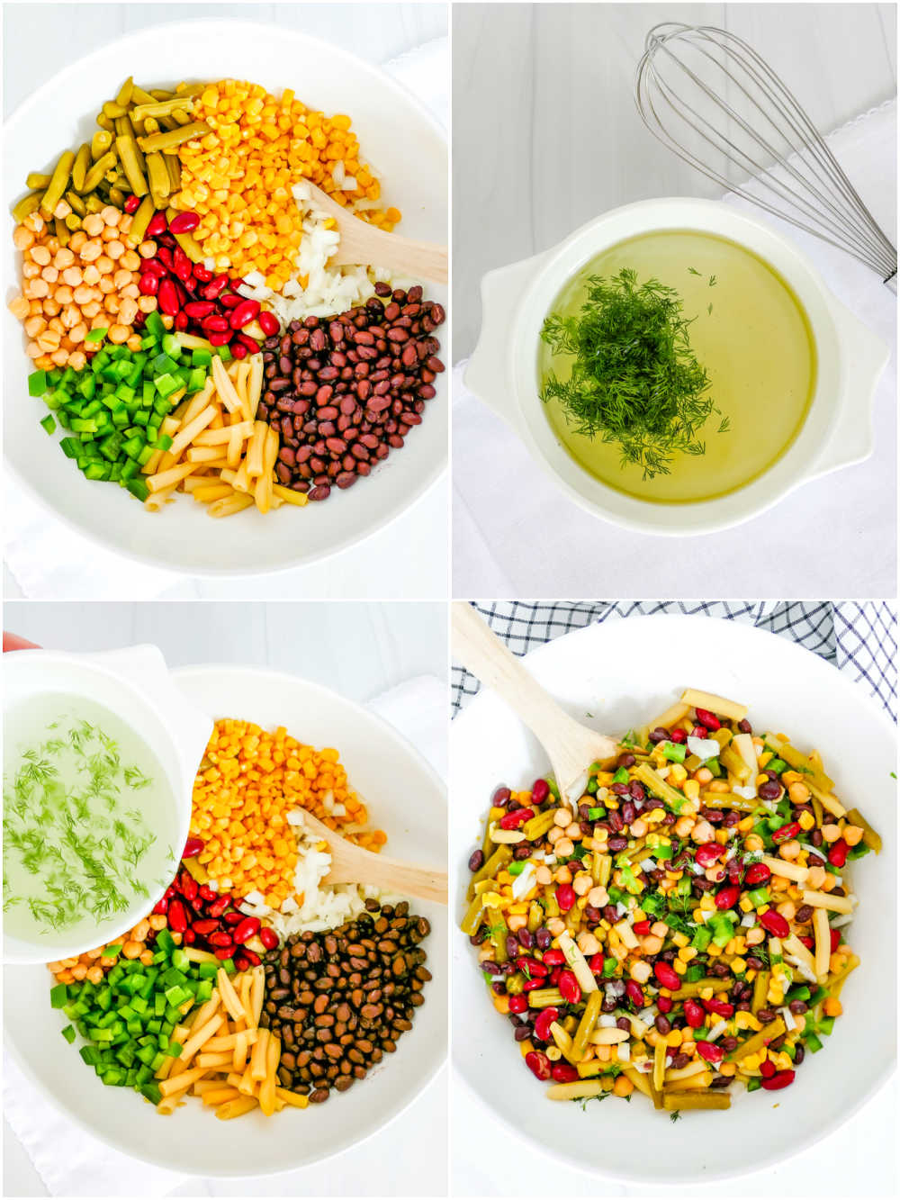 A picture collage of how to make 5 Bean Salad.