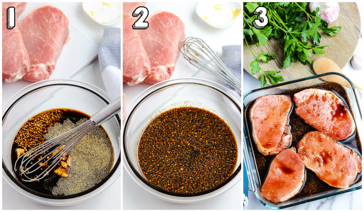 A picture collage of how to make this easy pork chop marinade recipe.