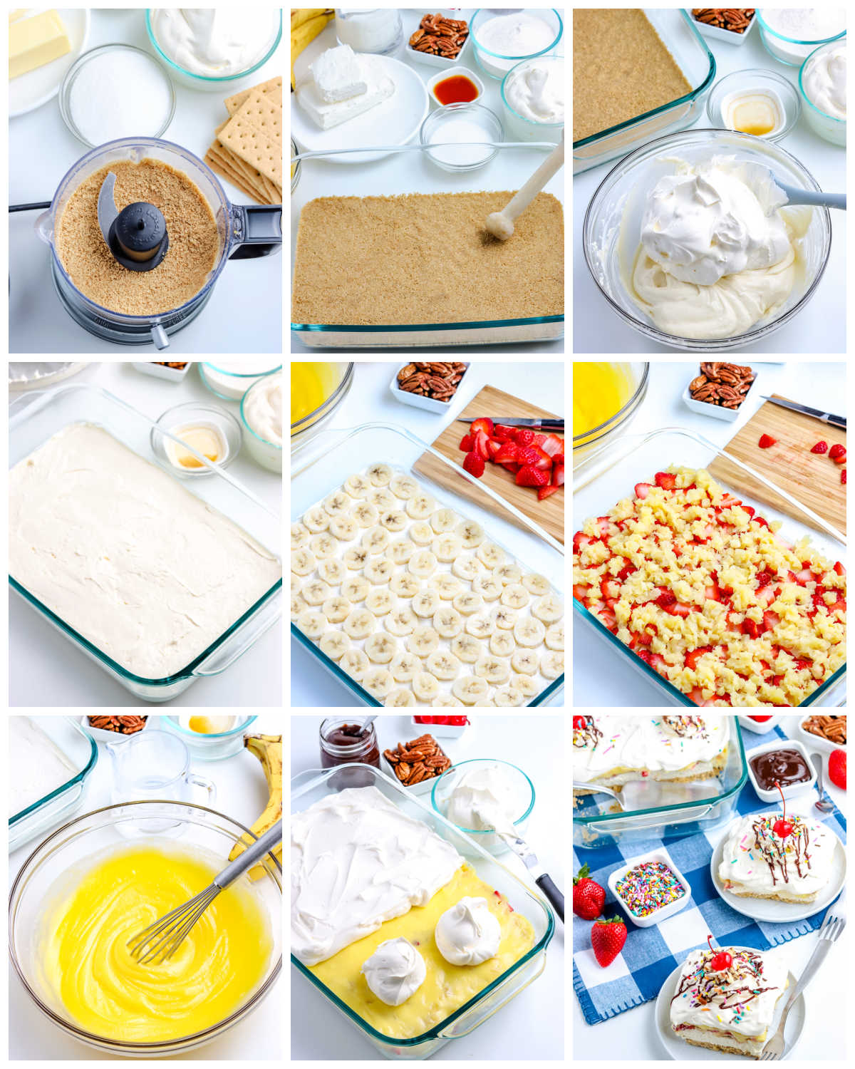 A picture collage of how to make this No-Bake Banana Split Cake recipe.