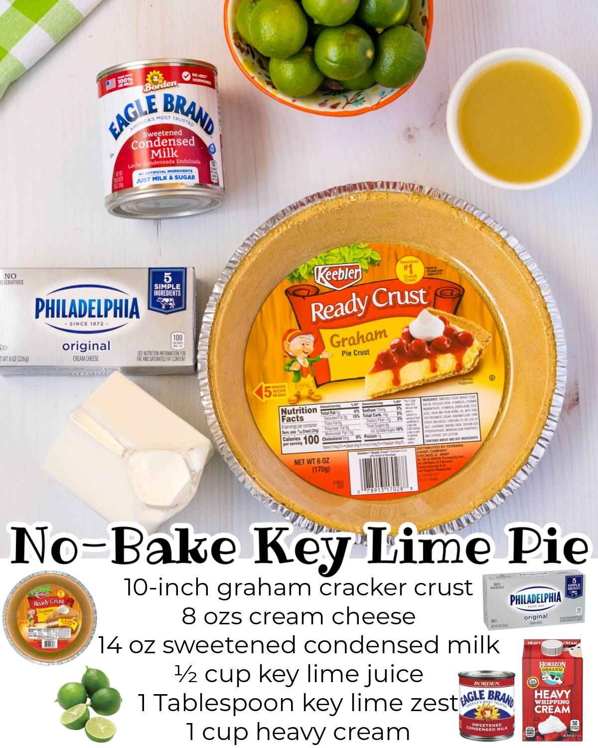 All of the ingredients needed to make this no-bake key lime pie.