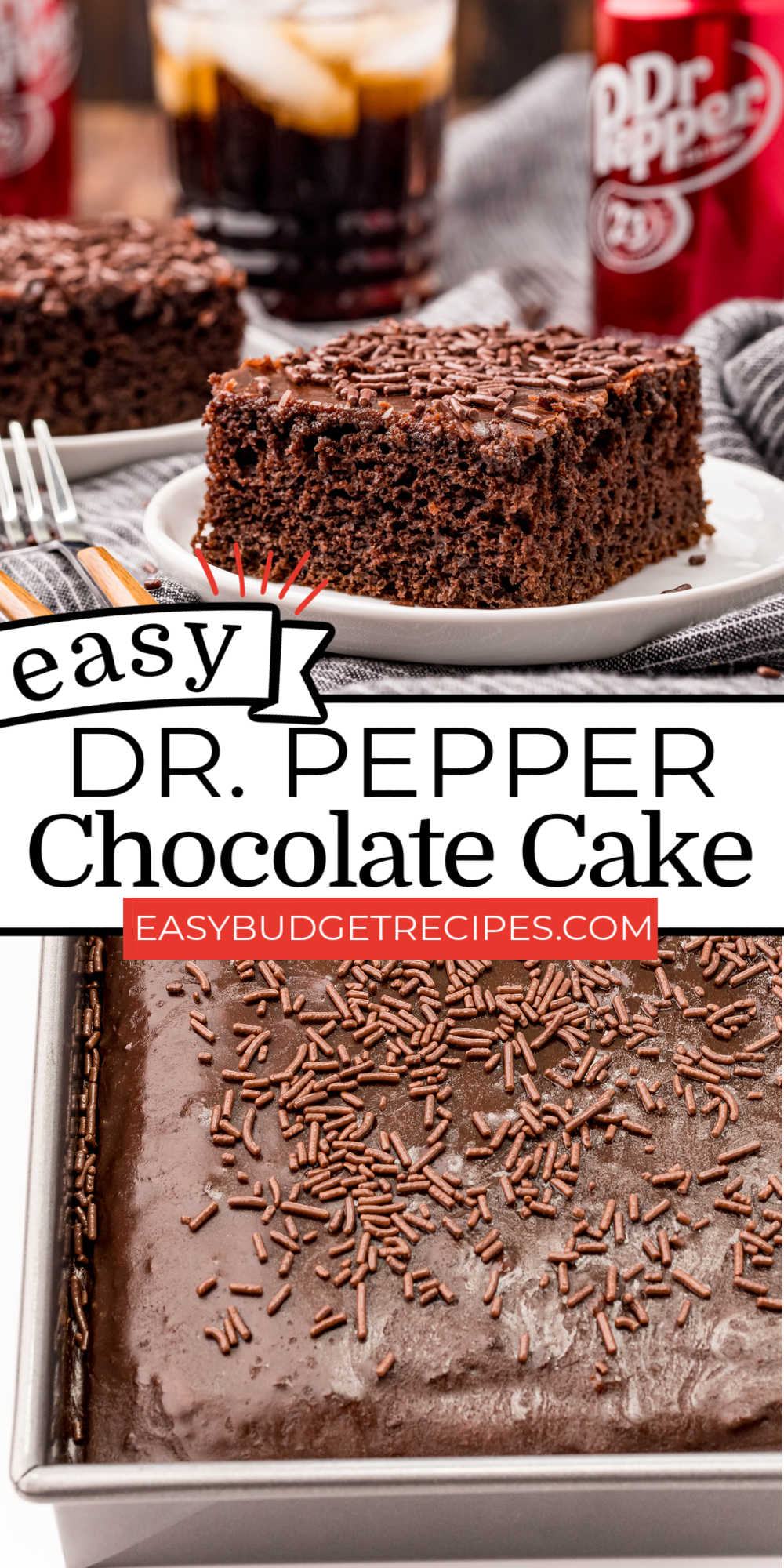 This Dr. Pepper Cake has a light and airy crumb that isn't overly sweet. It's a quick and easy recipe with a simple chocolate fudge frosting that has Dr. Pepper in it, too! via @easybudgetrecipes