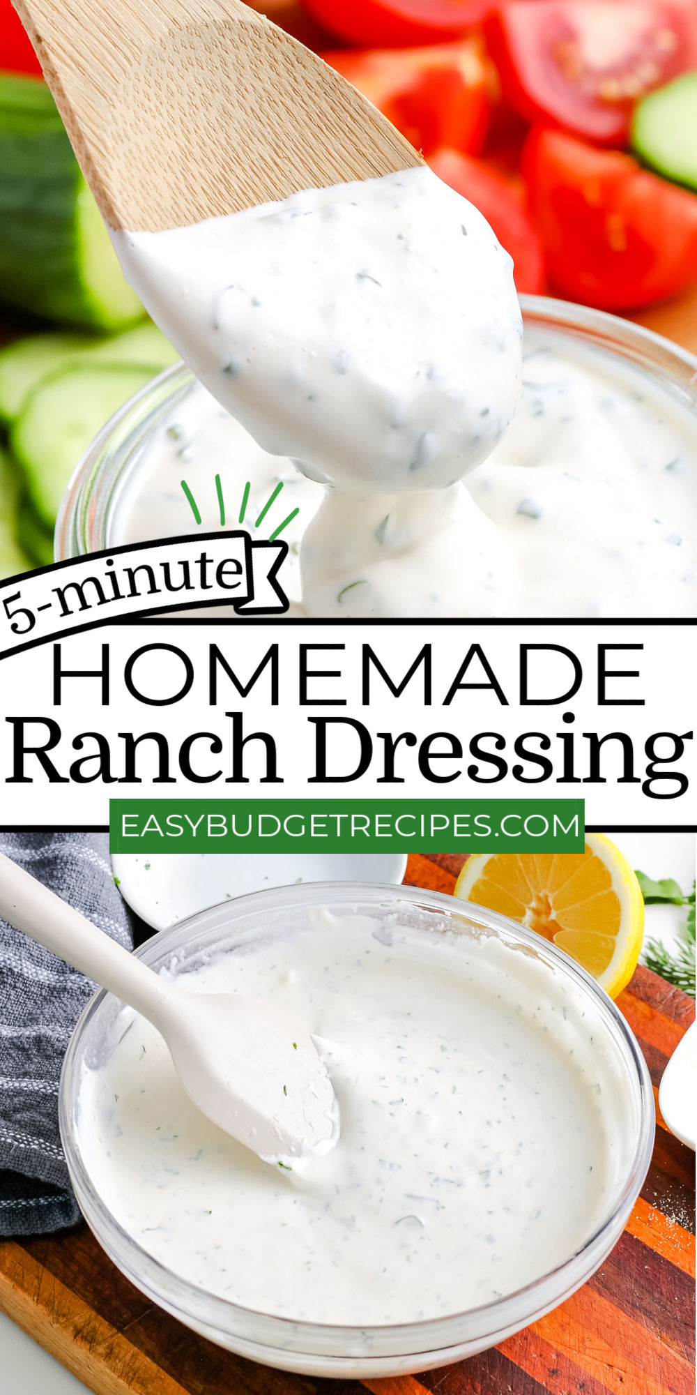 This easy Homemade Ranch Dressing recipe is so creamy and packed with herbs and so much flavor. You'll never go back to the bottled stuff again!  via @easybudgetrecipes
