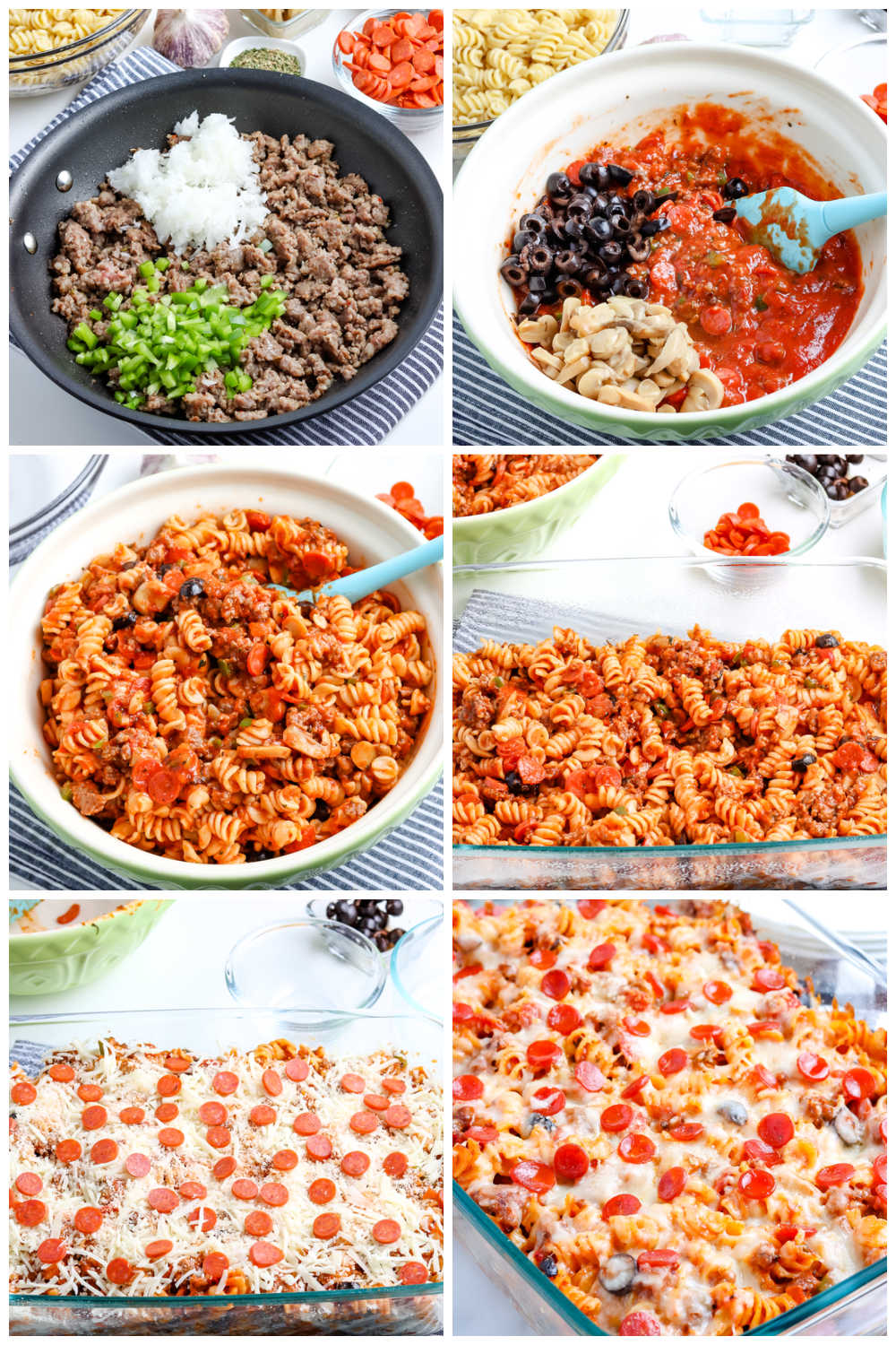 A picture collage of how to make this Pizza Casserole recipe.