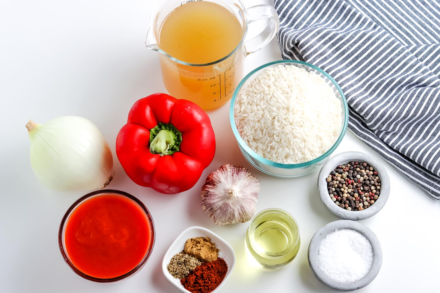 All of the ingredients needed to make this Spanish Rice recipe
