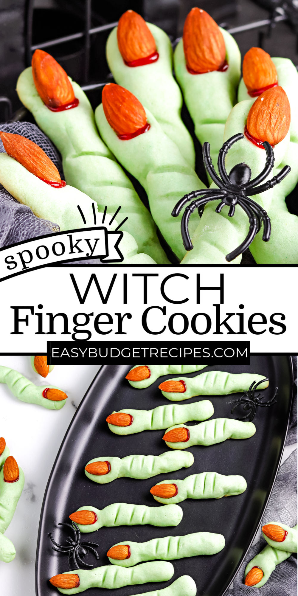 These Witch Finger Cookies are just as fun to make as they are to eat! Grab the kids because they will love helping you make these Halloween cookies! via @easybudgetrecipes