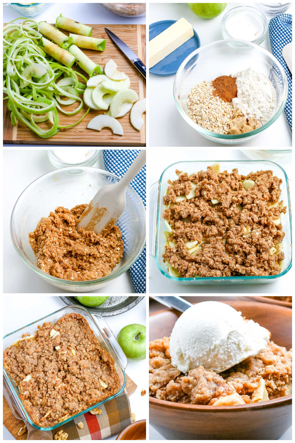 A picture collage of how to make this Easy Apple Crisp recipe.