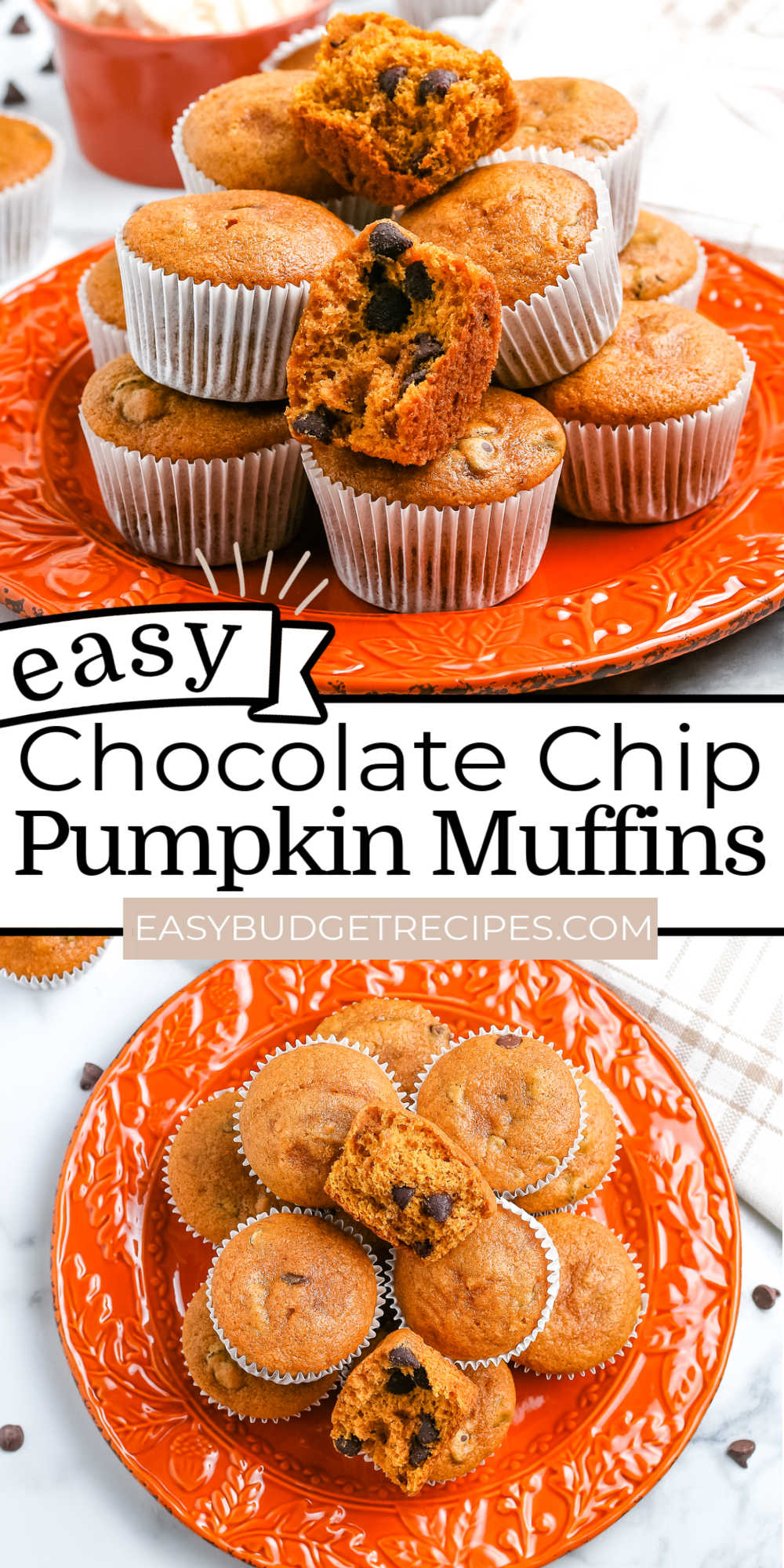 These easy Pumpkin Chocolate Chip Muffins are the perfect fall breakfast treat or snack. They're easy to make, so tender, and perfectly spiced. via @easybudgetrecipes