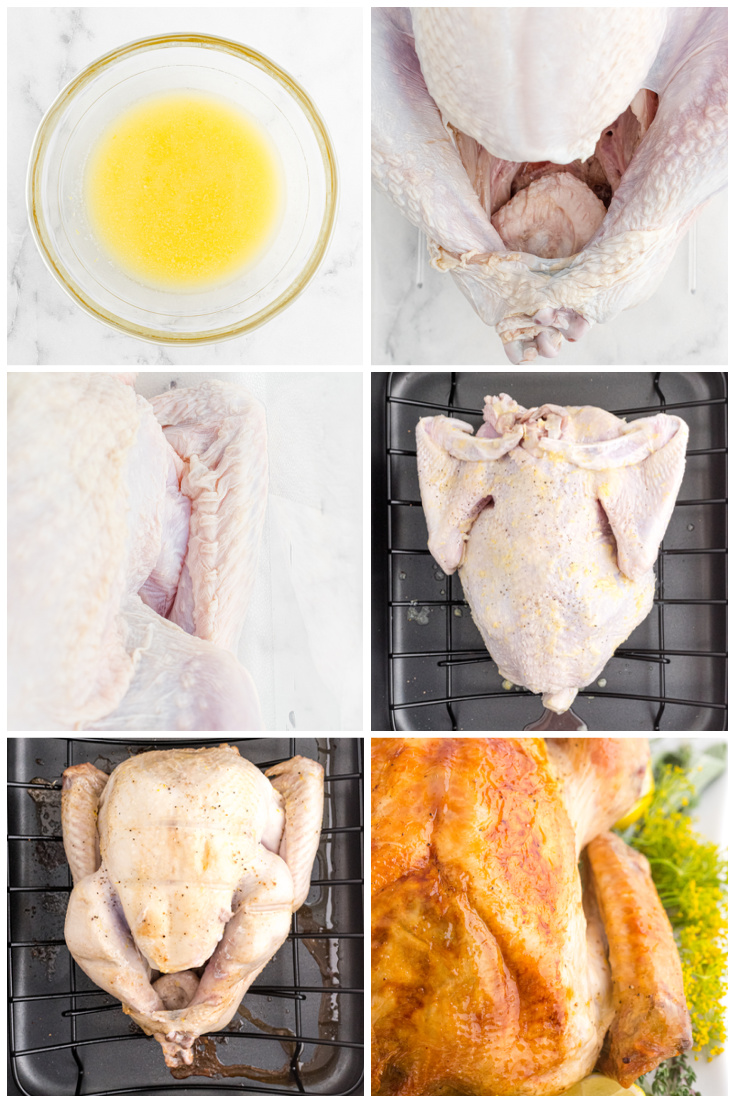 A picture collage showing how to make this roast turkey recipe.