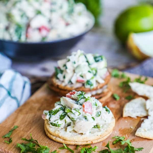 Cilantro Lime Chicken Salad served on crackers