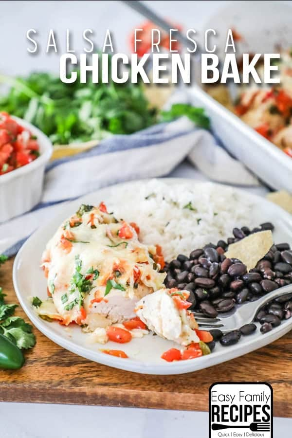 Salsa Fresca Chicken served with rice and beans