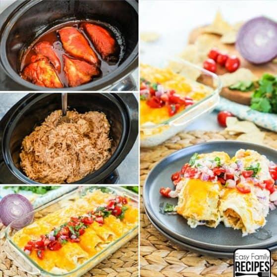 Slow Cooker BBQ Chicken Enchiladas