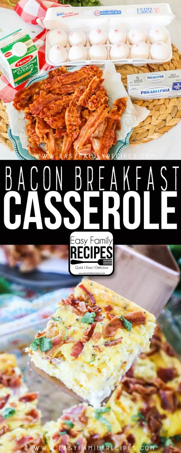 The BEST Breakfast Casserole with Bacon - Just a few simple ingredients!