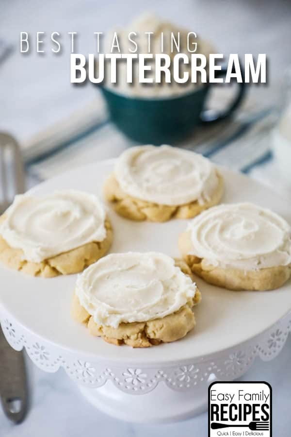 Perfect Buttercream Frosting! This recipe is perfect for icing cookies, cakes, cupcakes and more!