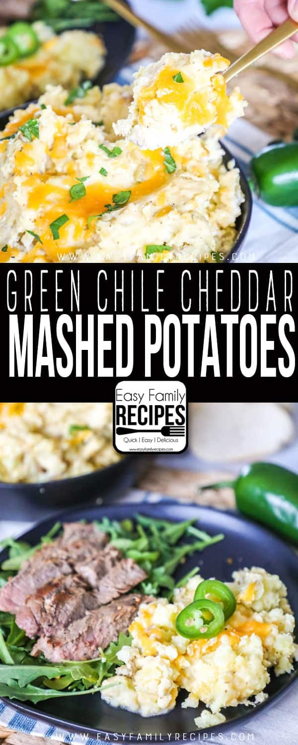 Green Chile Cheddar Mashed Potatoes