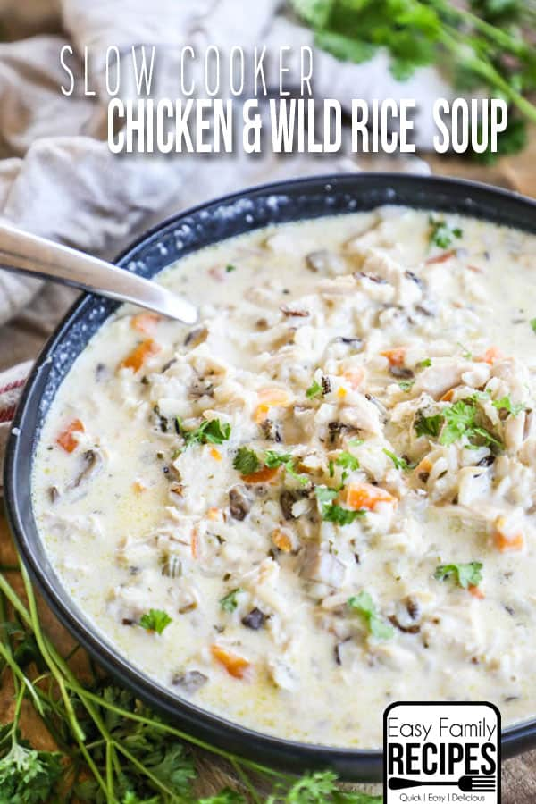 Bowl of Slow Cooker Chicken Wild Rice Soup with spoon