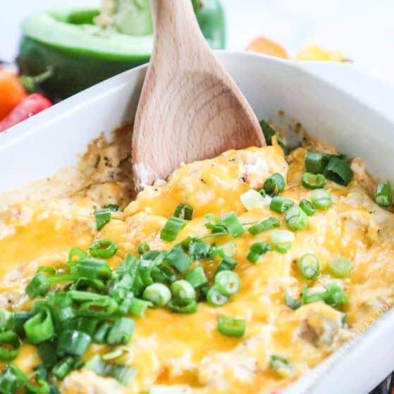 Cajun Chicken dip baked in casserole dish