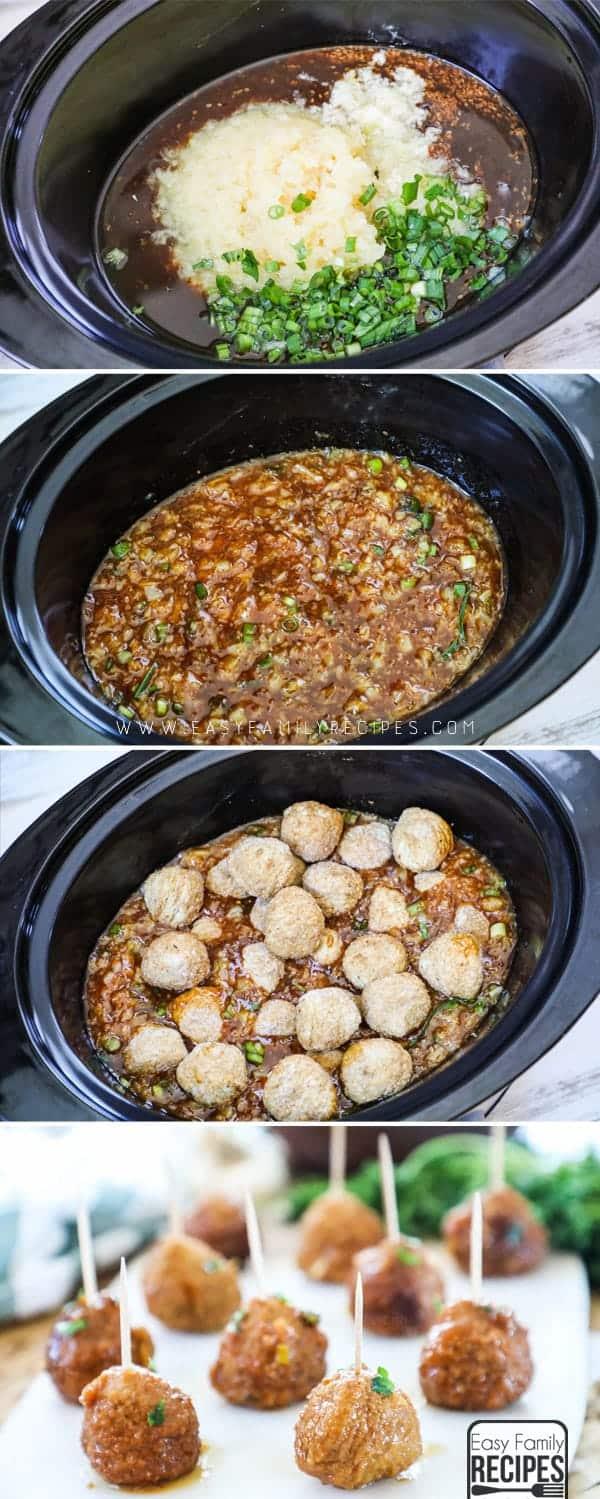 Steps in how to make Pineapple Teriyaki Meatballs.