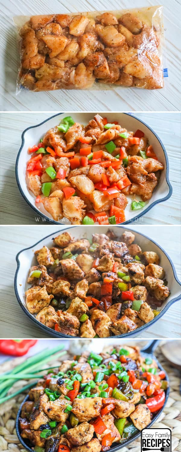 How to Make Cajun Chicken: Step 1: Marinate the chicken. Step 2: Place chicken and peppers in skillet. Step 3: Cook in skillet over high heat. Step 4: Garnish with green onions.