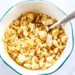 Caesar crouton cumbs in bowl