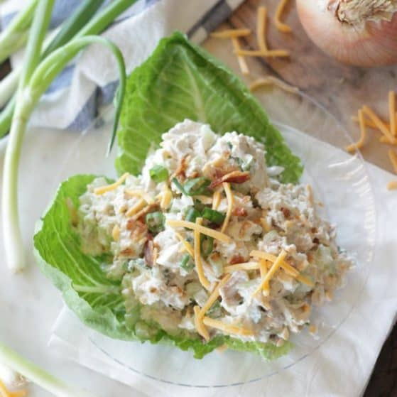 Loaded Chicken Salad served low carb style on lettuce