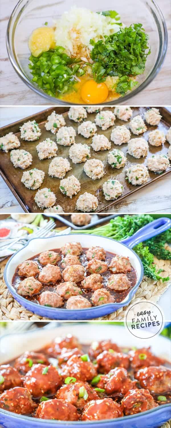 Steps to making Asian Turkey Meatballs.