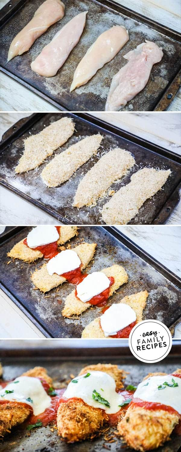 Steps to making baked chicken parmesan.