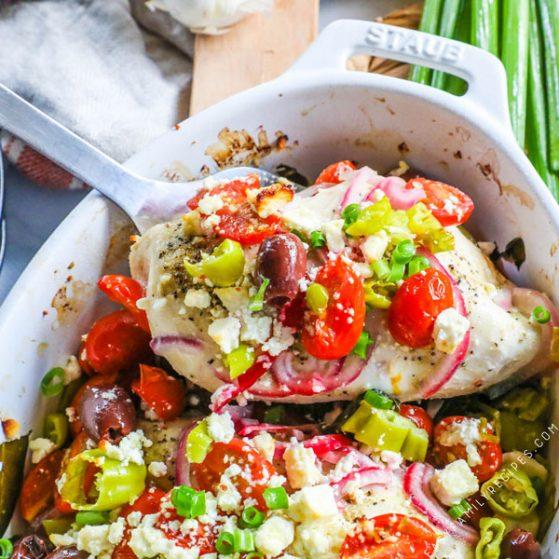 Greek Chicken Baked in a Casserole Dish
