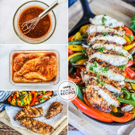 Tender chicken marinated in fajita marinade