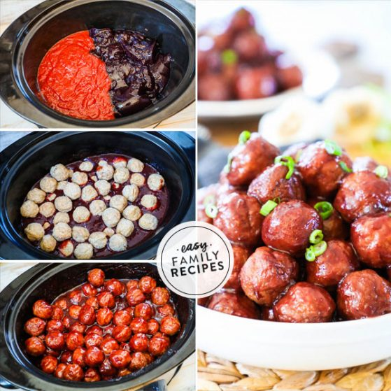 Grape jelly party meatballs in the slow cooker