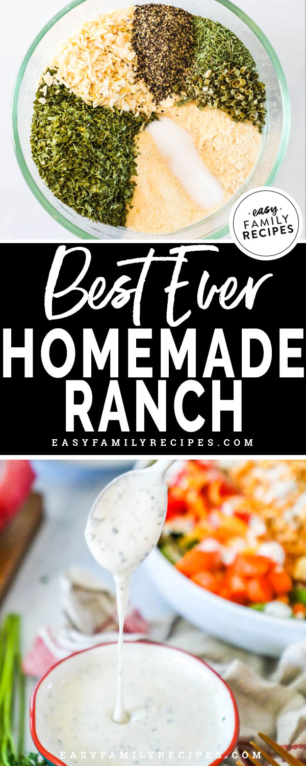 Homemade Ranch Dressing Ingredients including garlic, dill, buttermilk and pickle juice