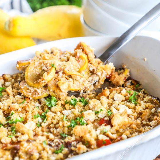 Easy Summer Squash Casserole Recipe prepared in a casserole dish