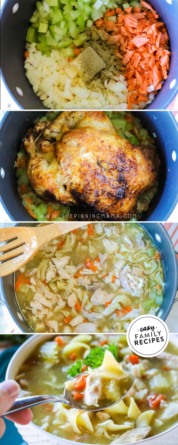 Process photos for how to make chicken noodle soup with whole chicken