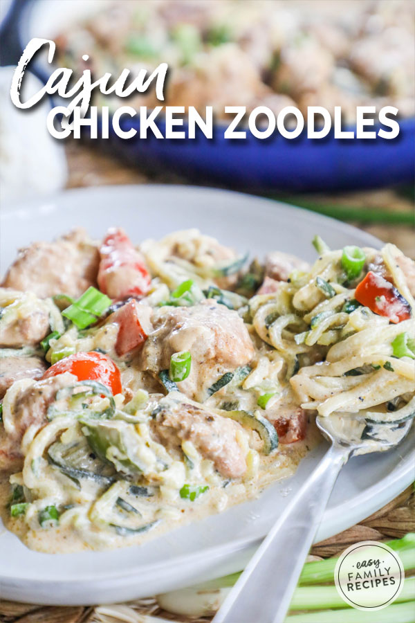 Cajun Chicken Alfredo zoodles served on a plate