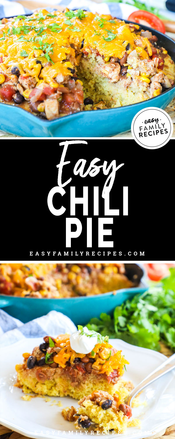 Chili pie in a pan and sliced on a plate