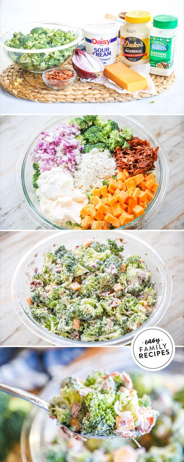 Process photos for how to make Bacon Ranch Broccoli Salad