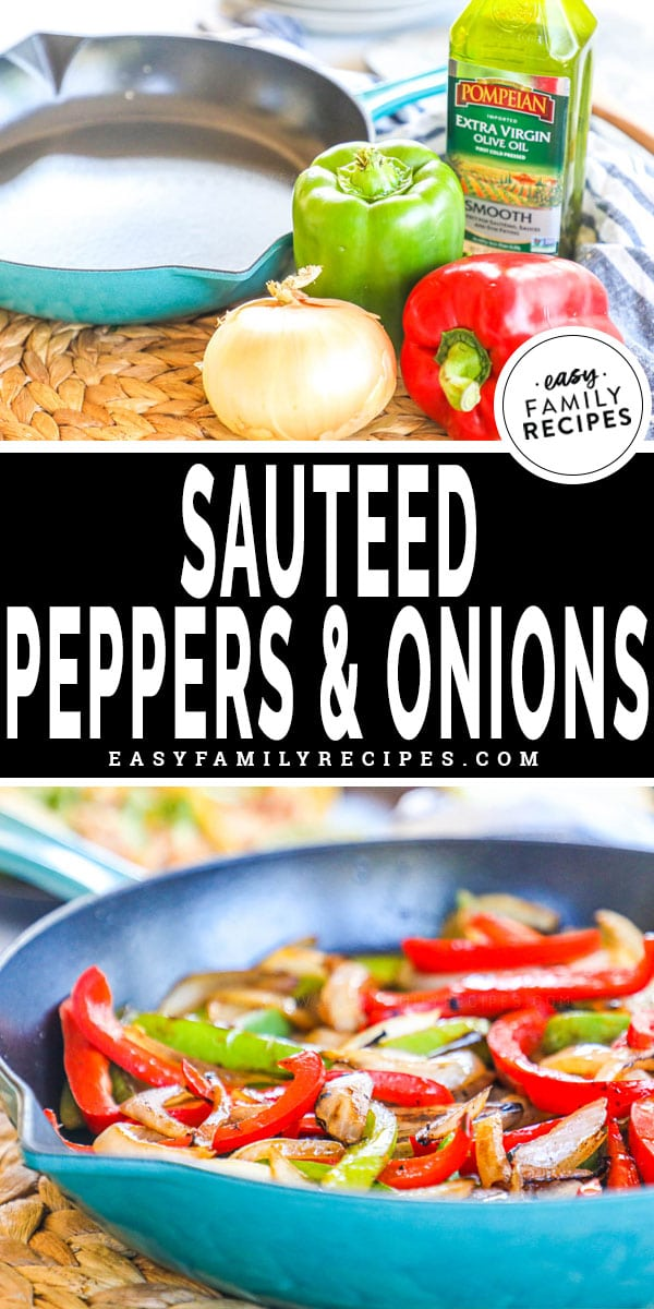 Ingredients for sauteed peppers and onions including reed bell pepper, green bell pepper, oil, salt