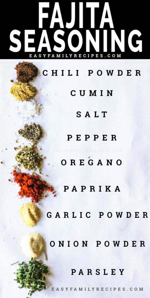 Ingredients for homemade fajita seasoning on parchment paper including chili powder, cumin, salt, pepper, oregano, paprika, garlic powder, and parsley