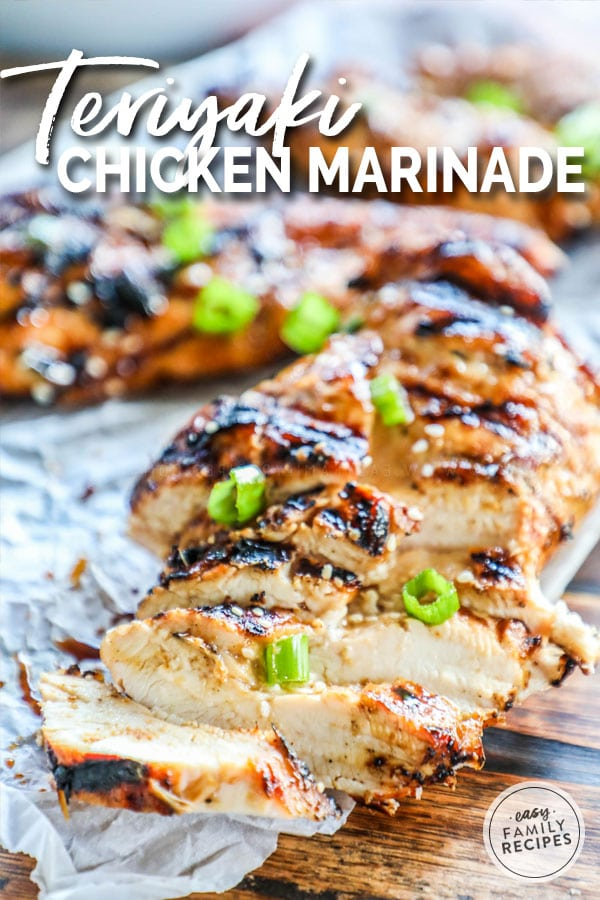 Grilled Teriyaki Chicken cut into slices and garnished with green onions