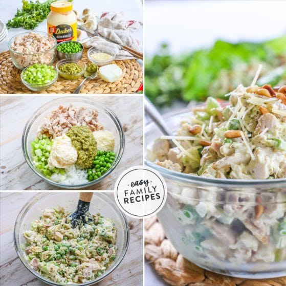 step by step photos for making creamy pesto chicken salad