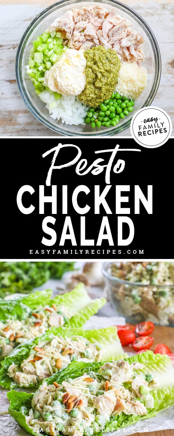 Pesto chicken salad in a bowl ready to be mixed and served in lettuce cups