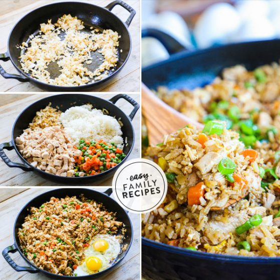 Step by step process to make chicken fried rice fast