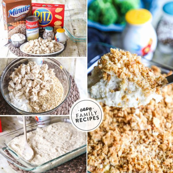 step by step for making chicken and rice casserole